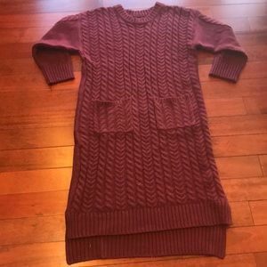 👗burgundy cable knit midi sweater dress